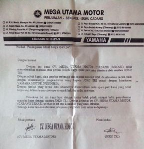 pernyataan klaim HET Yamaha